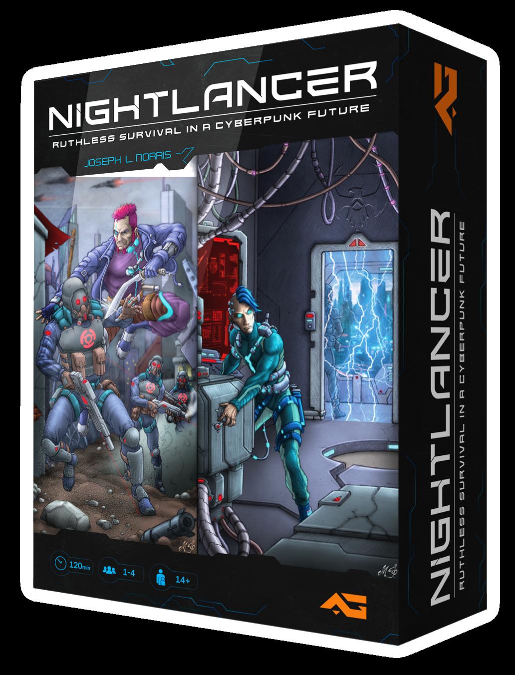 nightlancer competitive cyberpunk board game box